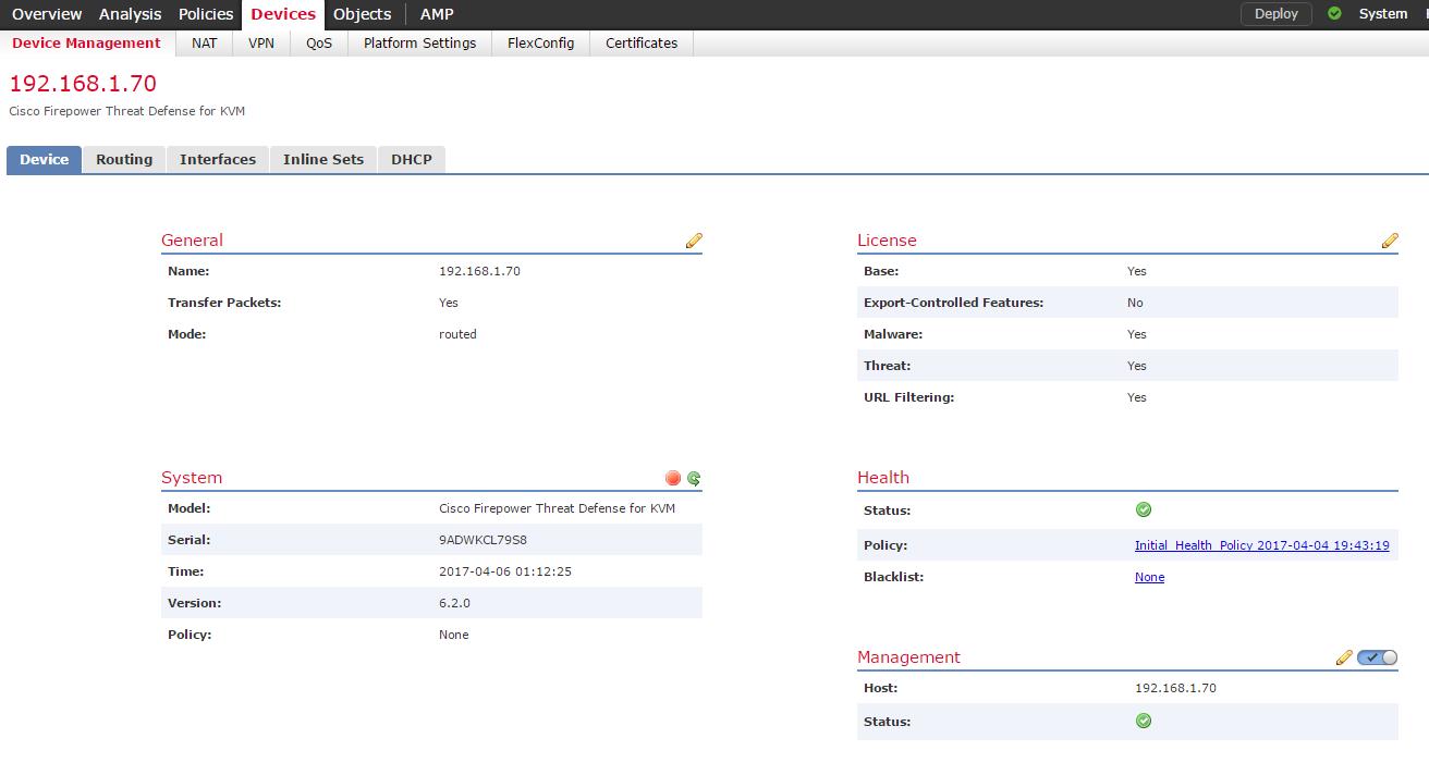 Adding Cisco Firepower Threat Defense (vFTD) to Firepower